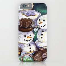 Mouse making snowman iPhone 6 Slim Case