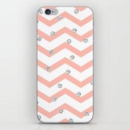 Geometrical coral white silver glitter polka dots iPhone Skin