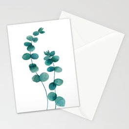 green eucalyptus watercolor Stationery Cards