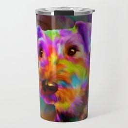 Colorful Airedale Terrier Portrait Travel Mug