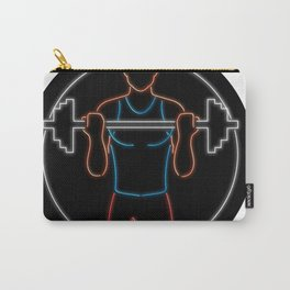 Athlete Lifting Barbell Oval Neon Sign Carry-All Pouch