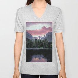 Purple Dusk Falling on Lake and Forest Unisex V-Neck