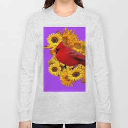 RED CARDINAL & YELLOW SUNFLOWERS PANTENE PURPLE Long Sleeve T-shirt