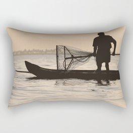 Indian Fisherman on Lake Rectangular Pillow