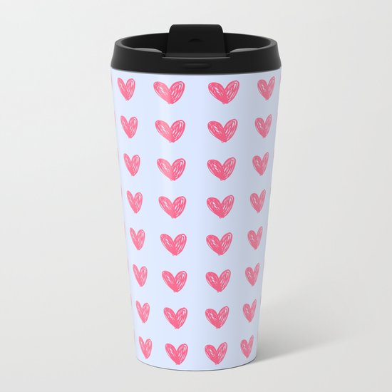 Pink hearts on blue Metal Travel Mug
