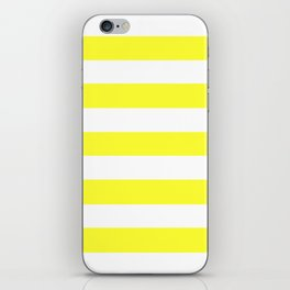 Electric yellow - solid color - white stripes pattern iPhone Skin