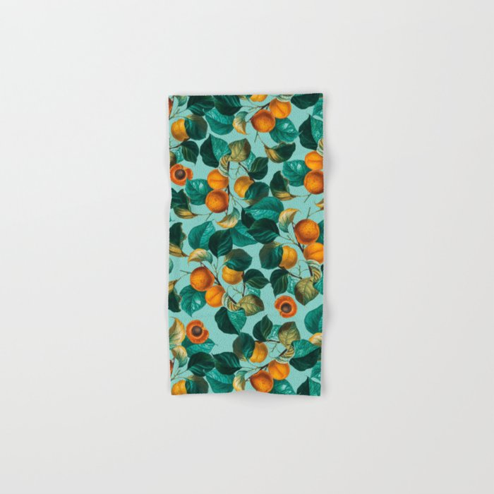 Peach and Leaf Pattern Hand & Bath Towel