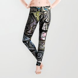 Distorted Shapes And Text Leggings