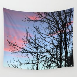 Skyscapes Pink Skies Silhouette Wall Tapestry