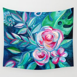 Tropical Camellia Extravaganza - oil on canvas Wall Tapestry