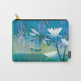 Dragonfly and Blue Pond Carry-All Pouch