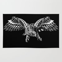 falcon Area & Throw Rugs featuring Ornate Falcon by BIOWORKZ