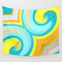 be happy Wall Tapestries featuring Happy  by Geni