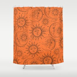 Orange Magic Celestial Sun Moon Stars Shower Curtain