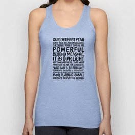 Inspirational Print. Powerful Beyond Measure. Marianne Williamson, Nelson Mandela quote. Unisex Tank Top