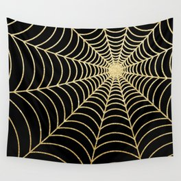 Spiderweb | Gold Glitter Wall Tapestry