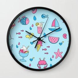 cute beach icon summer pattern  Wall Clock