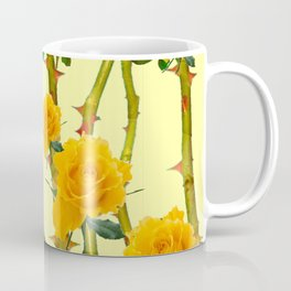 GOLDEN ROSES & THORNY CANES ON  YELLOW Coffee Mug