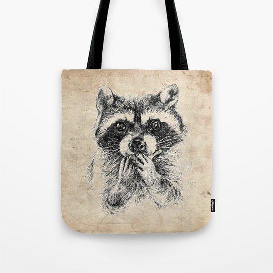 Surprised raccoon Tote Bag