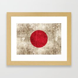 Vintage Aged and Scratched Japanese Flag Framed Art Print