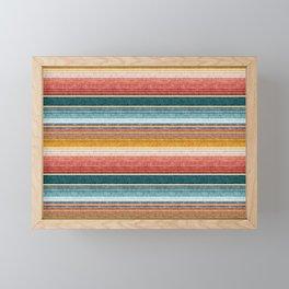 serape southwest stripe - orange & teal Framed Mini Art Print