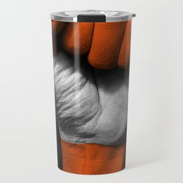 Austrian Flag on a Raised Clenched Fist Travel Mug