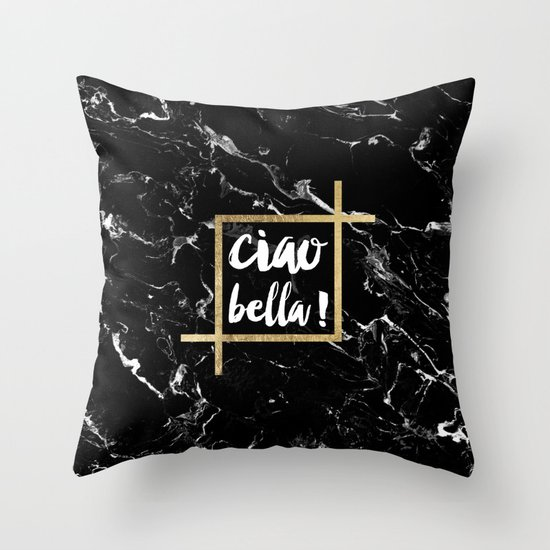 Modern elegant typography Ciao Bella gold leaf black marble Throw Pillow