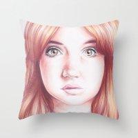 karen Throw Pillows featuring karen gillan by Jill Schell