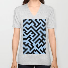 Black and Baby Blue Diagonal Labyrinth Unisex V-Neck