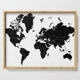 Minimalist World Map Black on White Background Serving Tray