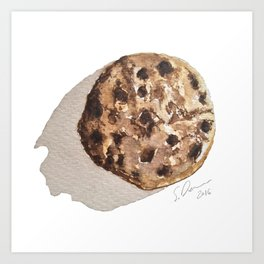 Chocolate Chip Cookie -  Watercolour Illustration By Scarlett Damen Art Print