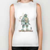 teenage mutant ninja turtles Biker Tanks featuring Michelangelo Teenage Mutant Ninja Turtles by Carma Zoe