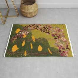 Poppies in a Green Land Rug