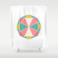 polygon Shower Curtains featuring Polygon by Juste Pixx Designs