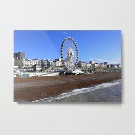 Brighton Beach Winter Swimmers Metal Print