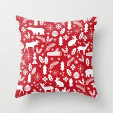 Festive Christmas woodland reindeer moose bear camping red and white minimal pattern for holidays Throw Pillow