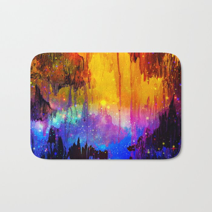 CASTLES IN THE MIST Magical Abstract Acrylic Painting Mixed Media Fantasy Cosmic Colorful Galaxy  Bath Mat