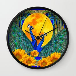 BLUE PEACOCKS MOON & FLOWERS FANTASY ART Wall Clock