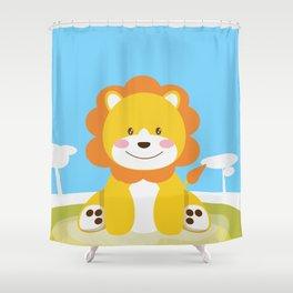 Lion in the savannah Shower Curtain