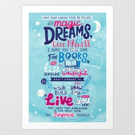 May your coming year be filled with dreams by Neil Gaiman Art Print