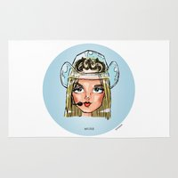 britney Area & Throw Rugs featuring Britney Cartoon: Wet Chick by Eduardo Sanches Morelli