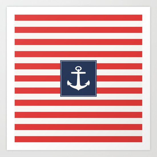 Anchor on red and white stripes Art Print