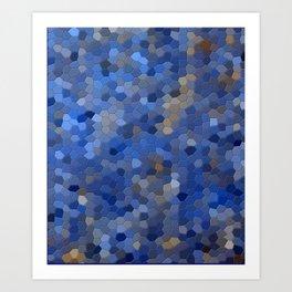 Blue mosaic tile abstract Art Print