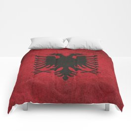 Old and Worn Distressed Vintage Flag of Albania Comforters
