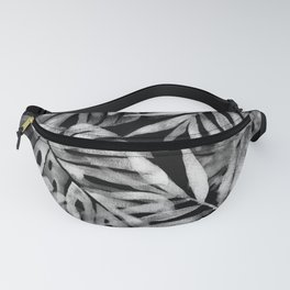 Monstera and palm watercolor black and white Fanny Pack