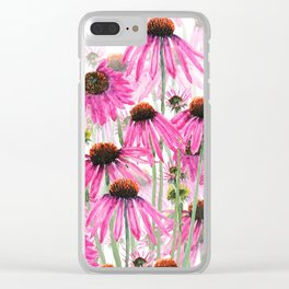 pink coneflower field Clear iPhone Case