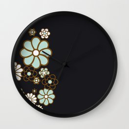 Copper Turquoise Floral Digital Pattern Design Wall Clock