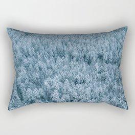 Winter pine forest aerial - Landscape Photography Rectangular Pillow