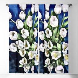 White Tulips Blackout Curtain