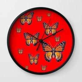 RED ART MONARCH BUTTERFLIES Wall Clock